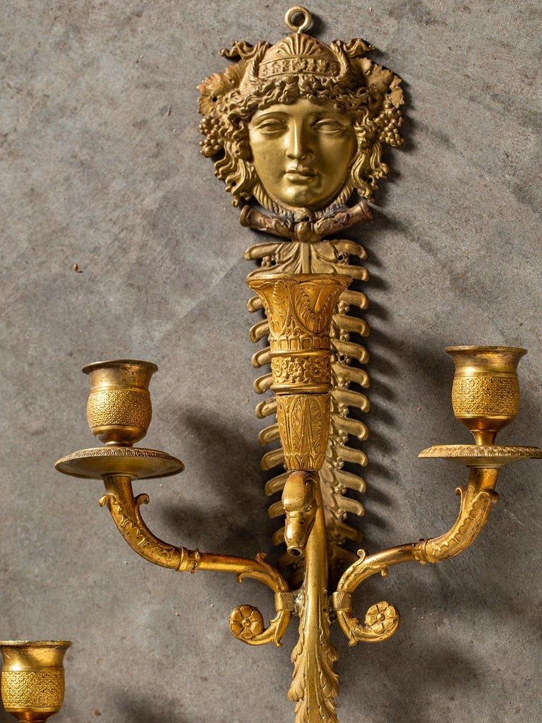 Pair of Neoclassical Antique French Empire Style Gilt Bronze Sconces, circa 1870 For Sale 5