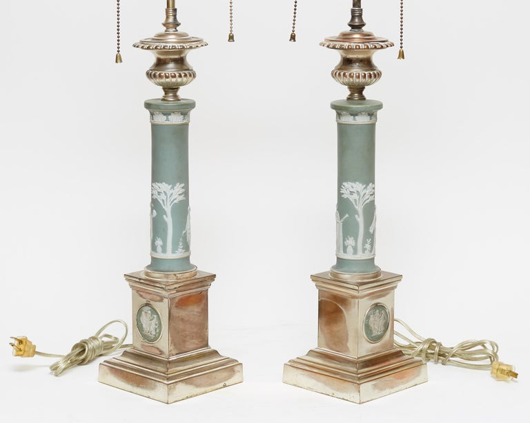 Classical Roman Pair of Neoclassical Jasperware Porcelain and Silver Gilt Metal Table Lamps For Sale