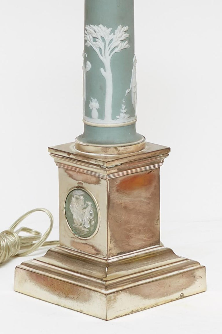 English Pair of Neoclassical Jasperware Porcelain and Silver Gilt Metal Table Lamps For Sale