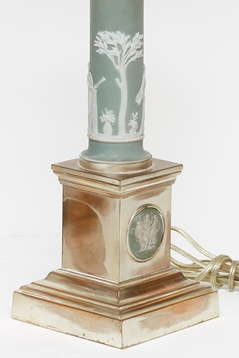 Silvered Pair of Neoclassical Jasperware Porcelain and Silver Gilt Metal Table Lamps For Sale