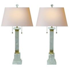 Pair of Neoclassical Style Rock Crystal and Ormolu Lamps