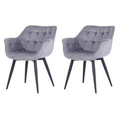 Pair New Spanish Armchair Gray Velvet Upholstery