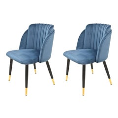 Pair New Spanish Chair, Metal, Blue Velvet Upholstery