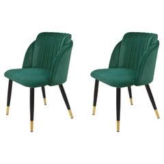 Pair New Spanish Chair, Metal, Green Velvet Upholstery