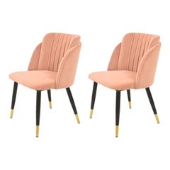 Pair New Spanish Chair, Metal, Pink Velvet Upholstery