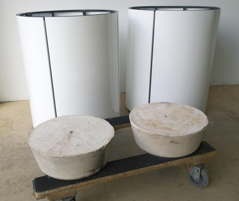 Pair Newly Powder-Coated in White Over Metal Panels & Black Metal Frame Planters For Sale 12