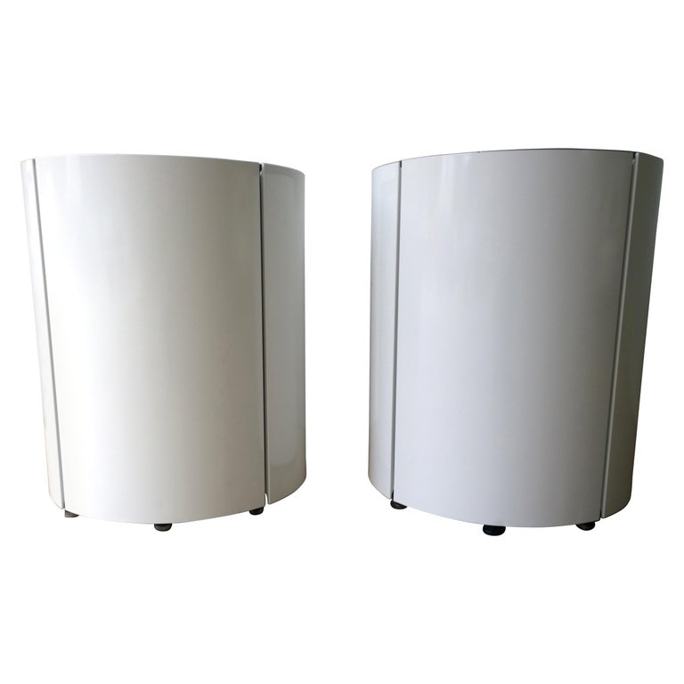 Pair Newly Powder-Coated in White Over Metal Panels & Black Metal Frame Planters For Sale