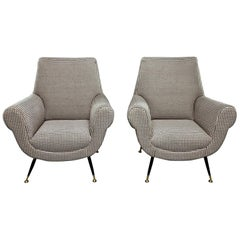 Pair of Newly Upholstered Chairs by Gigi Radice for Minotti