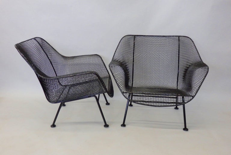 Mid-Century Modern Nicely Restored Russell Woodard Wrought Iron with Steel Mesh Lounge Chairs, Pair