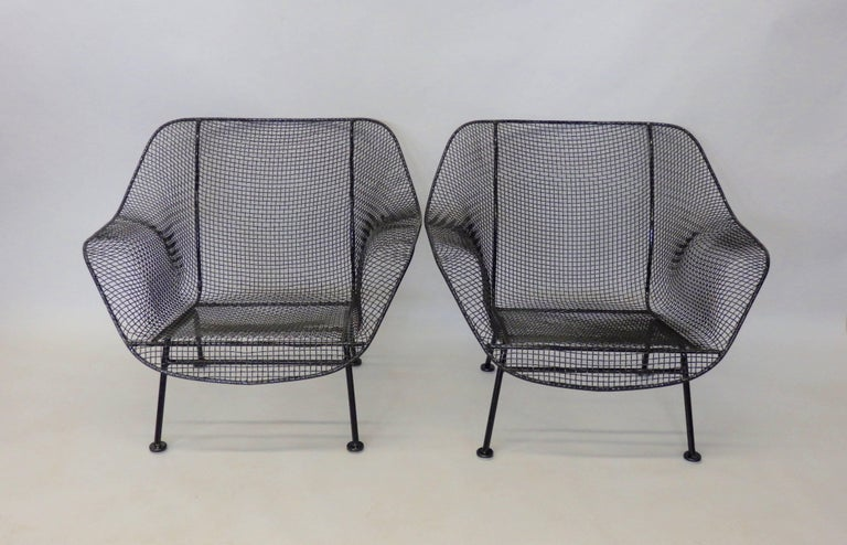 Powder-Coated Nicely Restored Russell Woodard Wrought Iron with Steel Mesh Lounge Chairs, Pair