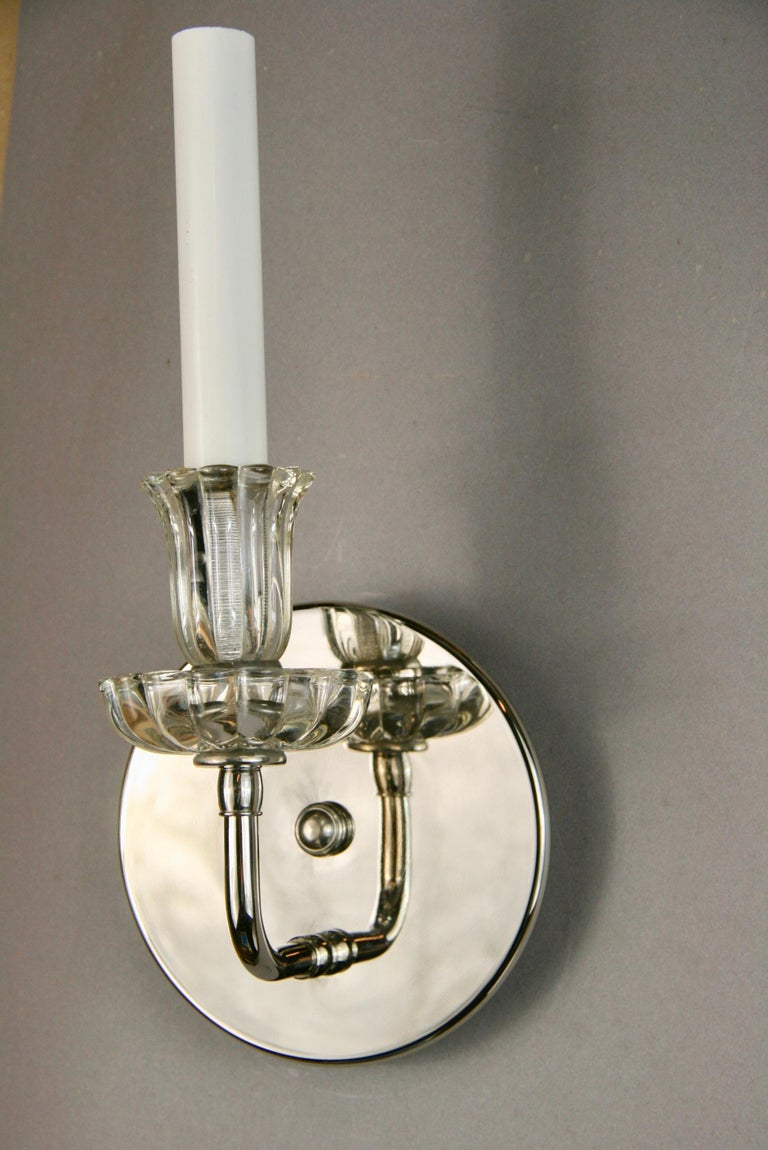 Pair of Nickel Tulips Glass Sconce In Good Condition For Sale In Douglas Manor, NY
