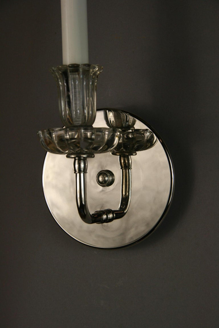 Mid-20th Century Pair of Nickel Tulips Glass Sconce For Sale