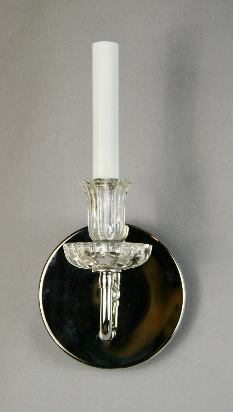 Brass Pair of Nickel Tulips Glass Sconce For Sale