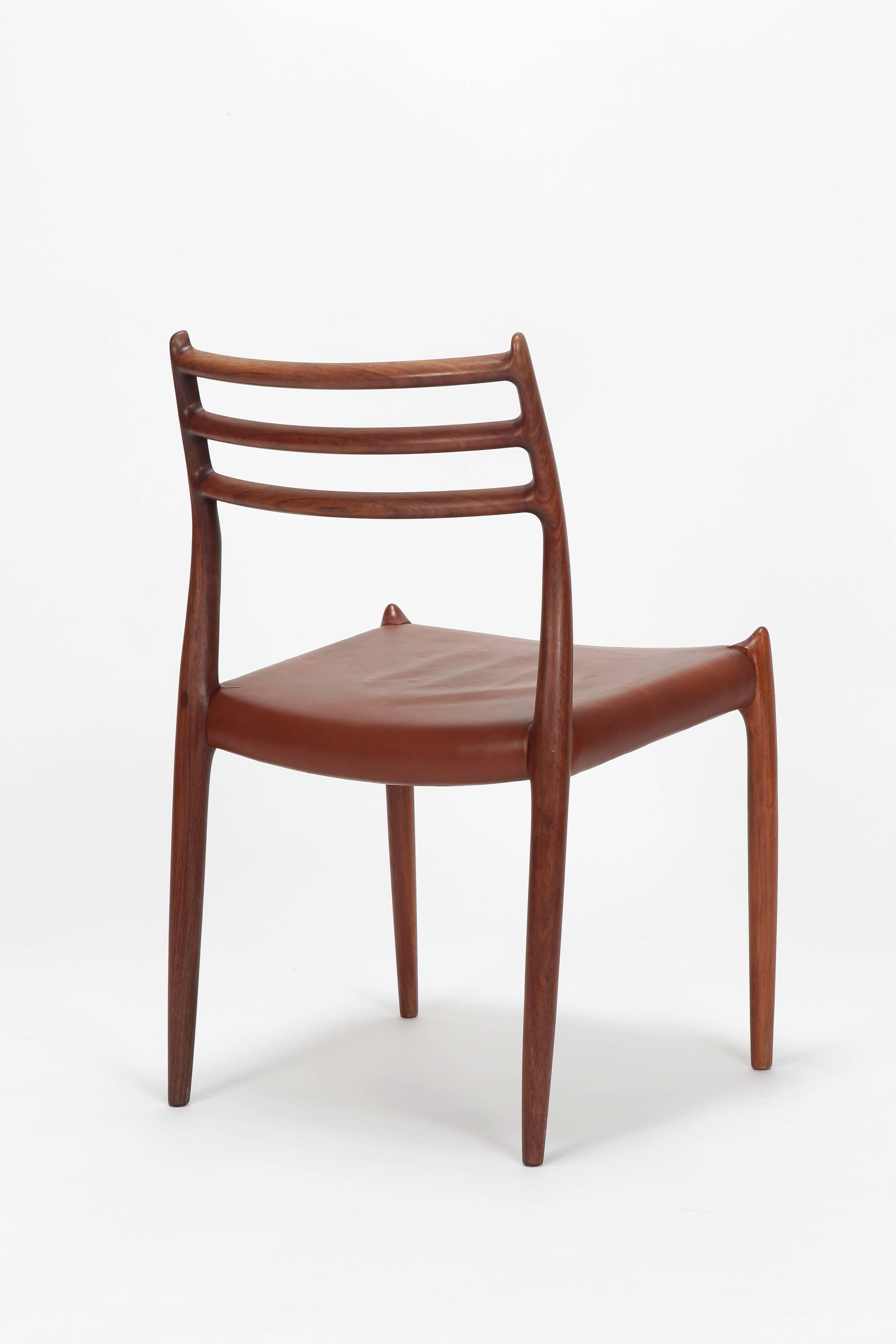 Pair Of Niels Moller Chairs Model 78 J.L. Moller, 1960s In Good Condition  For Sale