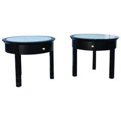 Pair of Nightstand Round Black Chestnut Marble Carrara Top Italian Design, 1960s