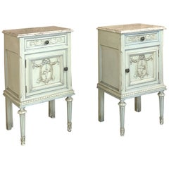 Pair of nightstands, Antique Italian Louis XVI Painted with Marble Tops