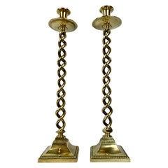 "Brass 21"" Barley Twist Candlesticks with Square Bases  England, 19th Century"