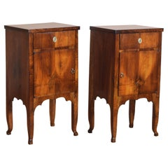 Pair of Northern Italian Figured and Shaped Walnut Bedside Commodes 19th Century