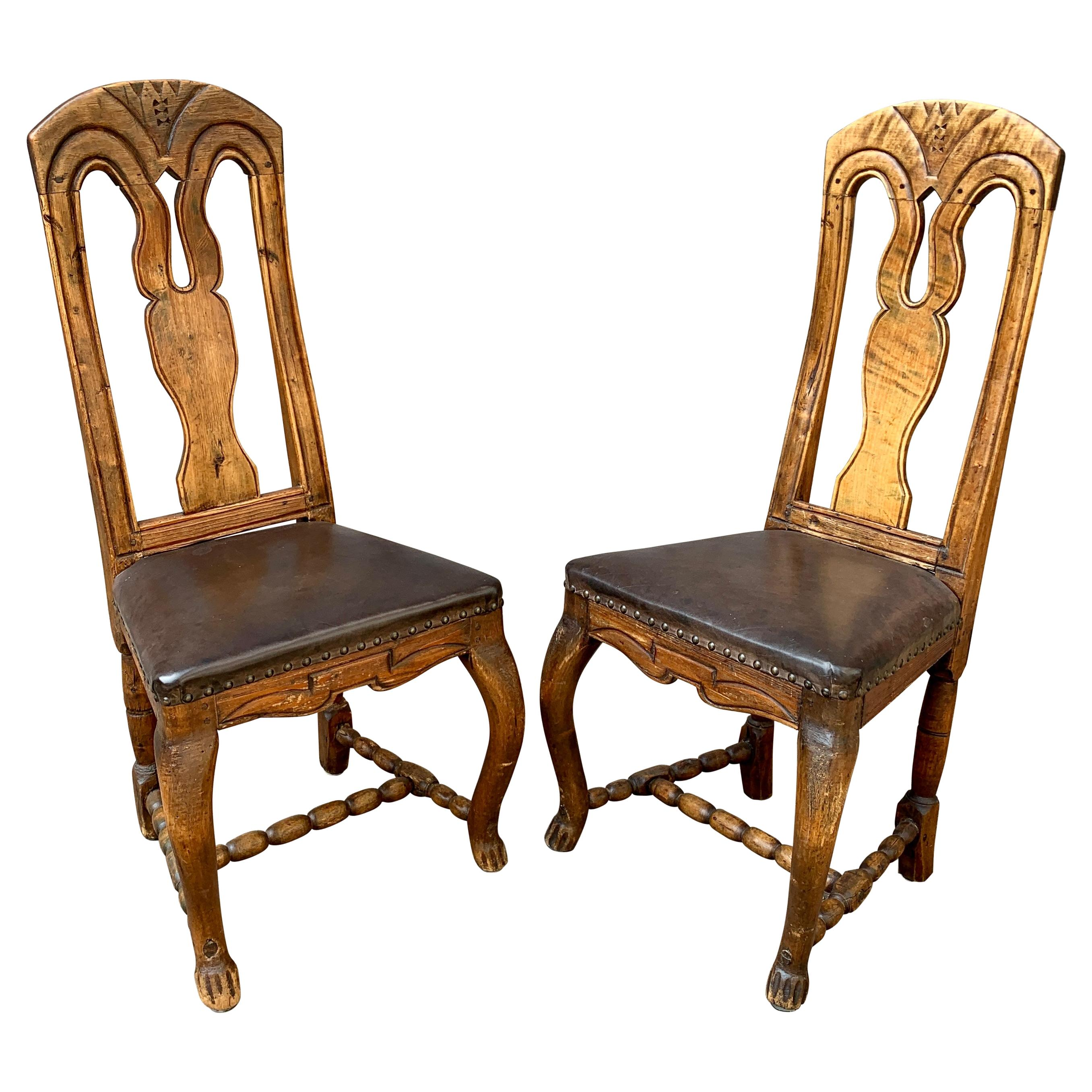 Pair Norwegian 18th Century Rococo Dining Chairs with Leather Seats