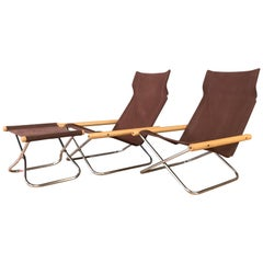"Takeshi Nii for Trend Pacific ""NY"" Folding Chairs & Ottoman Set"