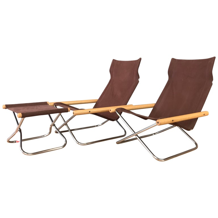 "Takeshi Nii for Trend Pacific ""NY"" Folding Chairs & Ottoman Set For Sale"
