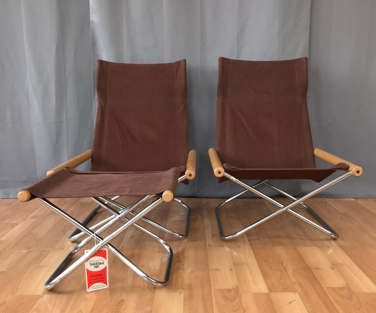 "American Takeshi Nii for Trend Pacific ""NY"" Folding Chairs & Ottoman Set For Sale"