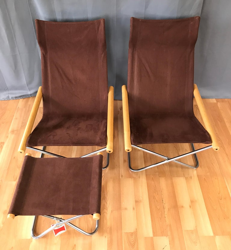 "Takeshi Nii for Trend Pacific ""NY"" Folding Chairs & Ottoman Set In Good Condition For Sale In San Francisco, CA"