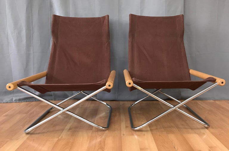 "Mid-20th Century Takeshi Nii for Trend Pacific ""NY"" Folding Chairs & Ottoman Set For Sale"