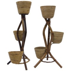 Pair of Italian Bamboo and Rattan Flower Stand or Plant Holder, 1950s