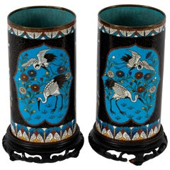 Pair of Meiji Cloisonné Crane Vases with Stands