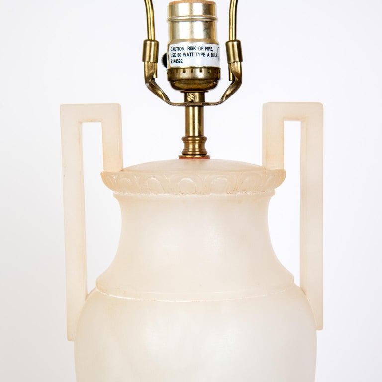 Mid-20th Century Pair of Midcentury Italian Neoclassical Style Alabaster Urn Table Lamps For Sale