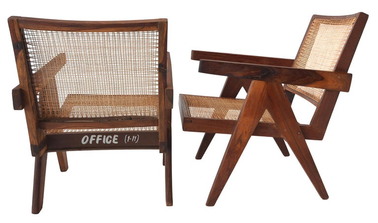 Indian Pair of Pierre Jeanneret Low Chairs For Sale