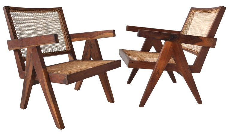 Pair of Pierre Jeanneret Low Chairs In Good Condition For Sale In Toronto, Ontario