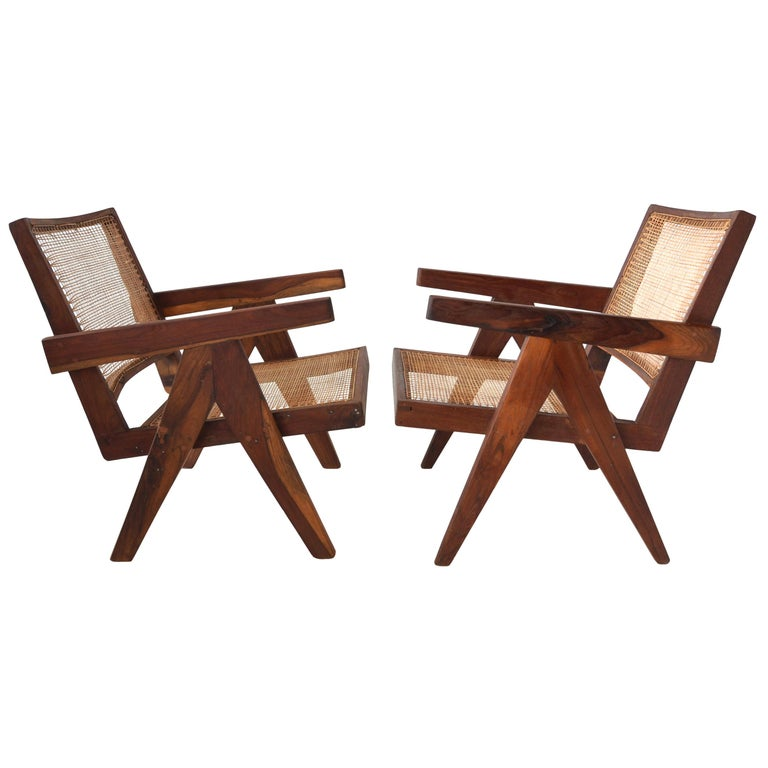 Pair of Pierre Jeanneret Low Chairs For Sale