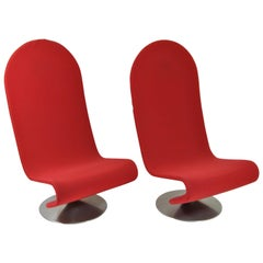 Pair of 1-2-3- Lounge System Armchairs Design Verner Panton for F. Hansen, 1970