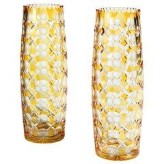 Pair of '1000 EYE' Bohemian Glass Vases