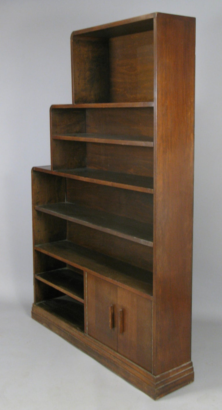 Pair of 1940s Walnut Skyscraper Bookcases In Good Condition For Sale In Hudson, NY