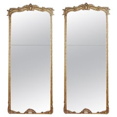 Pair of Tall Full Length French Louis XV Antique Gold Gilt Pier Mirrors