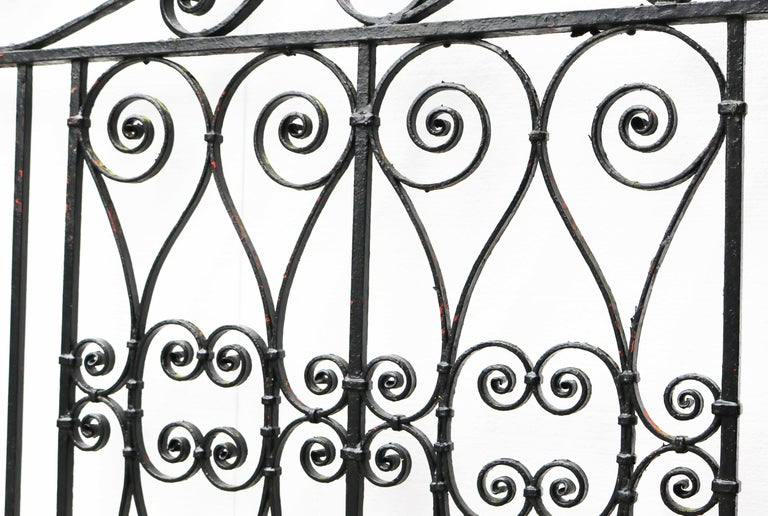 Pair of Reclaimed Wrought Iron Driveway Gates In Fair Condition For Sale In Wormelow, Herefordshire