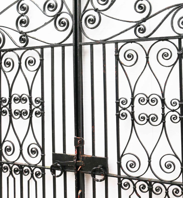 20th Century Pair of Reclaimed Wrought Iron Driveway Gates For Sale
