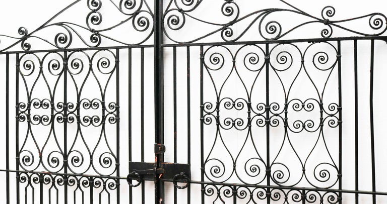 Pair of Reclaimed Wrought Iron Driveway Gates For Sale 1