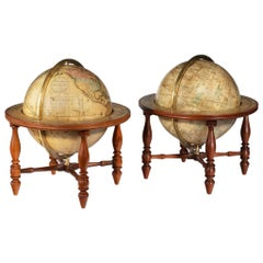 Pair of 12 Inch Table Globes by Josiah Loring Dated 1844 and 1841