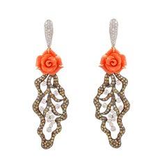 Pair of 12.05 Carat Carved Coral Fancy Diamonds 18 Karat Gold Earrings