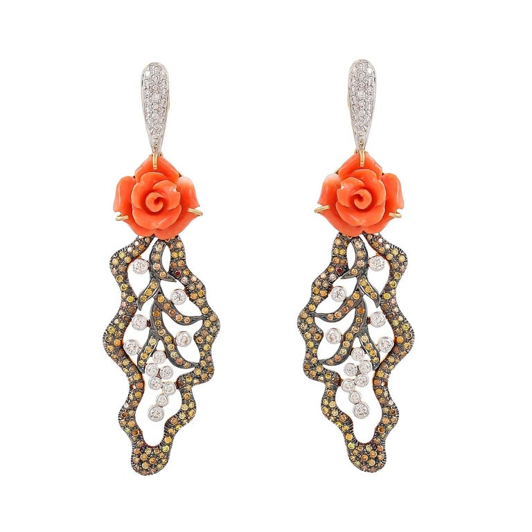 Pair of 12.05 Carat Carved Coral Fancy Diamonds 18 Karat Gold Earrings For Sale