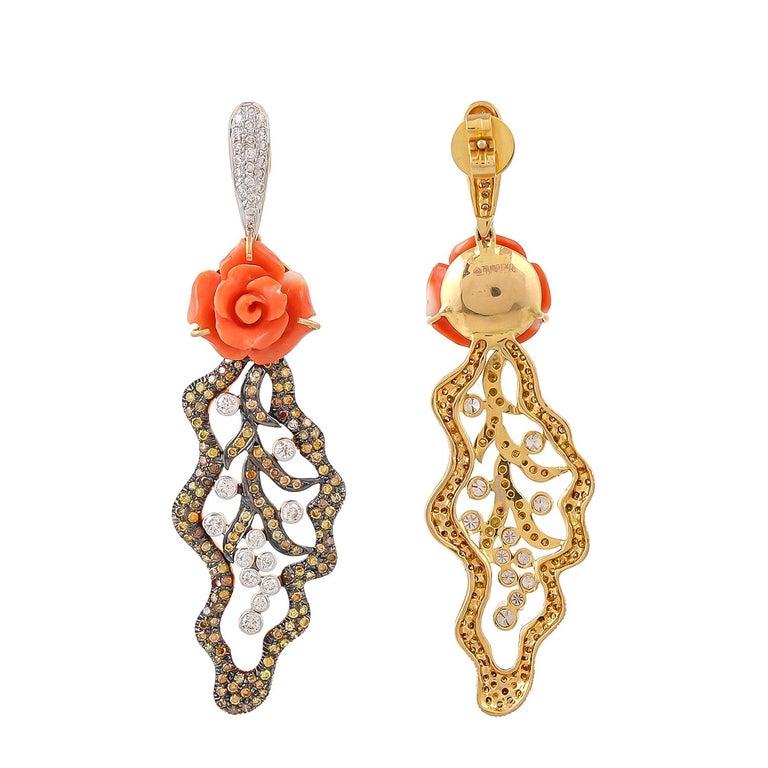 Modern Pair of 12.05 Carat Carved Coral Fancy Diamonds 18 Karat Gold Earrings For Sale