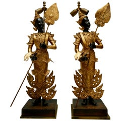 Pair of 120th Century Thai Gilt Bronze Figural Lamps
