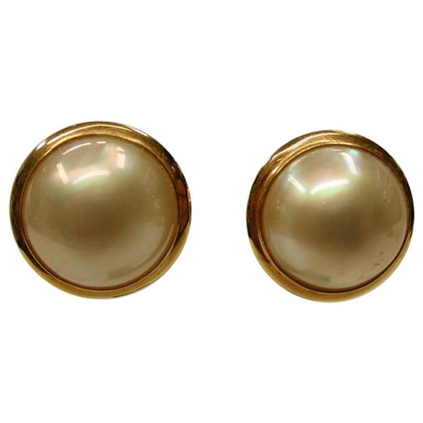 Pair of 14 Carat Gold Mabe Pearl Earrings, Dated circa 1970