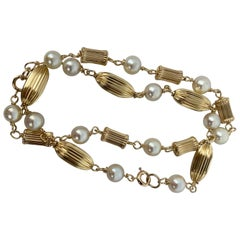 Pair 14k Gold and Pearl Bracelets