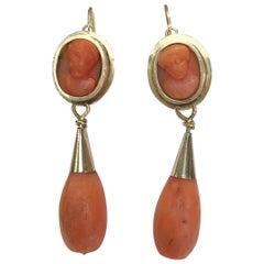 Pair of 14 Karat Gold Coral Earrings