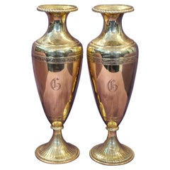 Pair of 14 Karat Gold Flower Vases